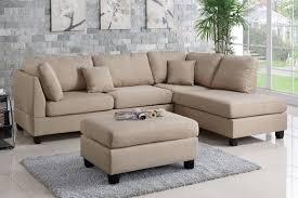 Reversible Sectional Sofa Poundex Bobkona F7605 Sand Reversible Chaise Sectional Sofa Ottoman