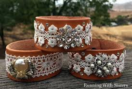 leather bracelet craft images Leather and lace cuff bracelet running with sisters jpg