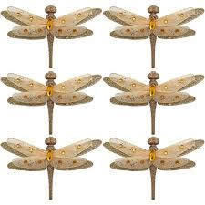 time gold clip on dragonfly ornaments set of 6