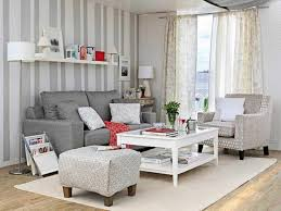 Living Room Wallpaper Ideas Grey Couch And Floating Shelves Using Striped Wallpaper For