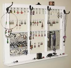 Bedroom Wall Organizers Jewelry Frame Upcycled Decor Window Frame Wall Hanging Jewelry
