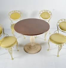 Vintage Woodard Patio Furniture Patterns by Vintage Woodard Chantilly Rose Yellow Iron Patio Chairs And Table