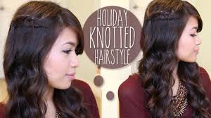 holiday knotted hairstyle for medium long hair tutorial youtube