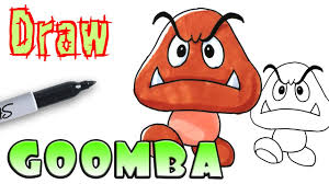 how to draw goomba mario coloring pages youtube