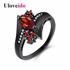 red stones rings images Uloveido cubic zirconia engagement rings for women black crystal jpg