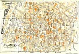 map of bologna bologna town city plan italy 1960 vintage map