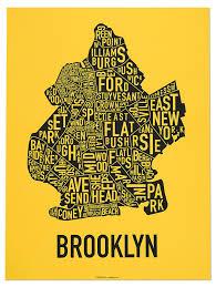 Neighborhood Map Amazon Com Brooklyn Neighborhoods Map Black U0026 White 18