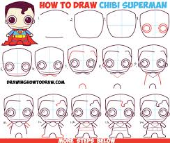 how to draw cute chibi superman from dc comics in easy step by