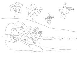 dora riding canoe coloring page funs 481686 coloring pages for