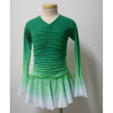 turmec long sleeve green figure skating dress
