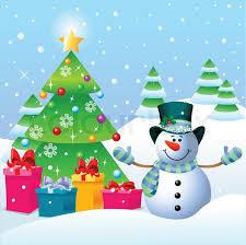 snowman christmas tree snowman standing near a christmas tree stock vector colourbox
