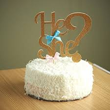 where to buy cake toppers gender reveal party decor he or she cake topper