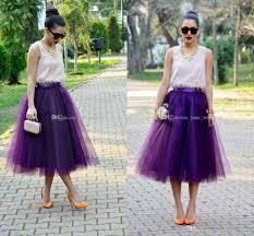 online cheap fashion regency purple tulle skirts for women midi
