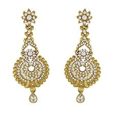 buy traditional ethnic golden peacock dangler earrings with