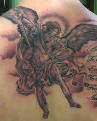fascinating angel tattoo with sword tattoomagz