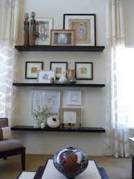 interiors stacked shelving layered art sculptures etc by