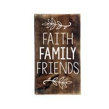 faith family friends wood sign primitive rustic wood home decor
