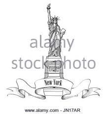 new york usa skyline sketch nyc city silhouette with liberty