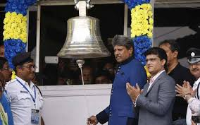 rings bell images Kapil dev rings the bell at eden gardens to start off india 39 s jpg