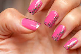 pink and gold nail designs