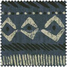 Cotton Linen Upholstery Fabric African Tribal Inspired Aztec Pattern Printed Cotton Linen Blue