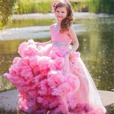 pink girls ball gown kids prom dresses cloud pageant dresses for