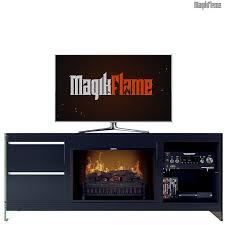 apollo ii black media center electric fireplace wall mantel tv