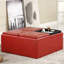 44 red storage ottoman with tray eco leather storage ottoman with
