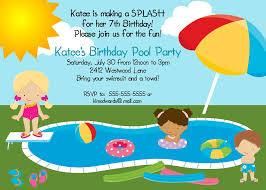 Bday Invitation Cards For Kids Pool Party Invitations Templates Ideas