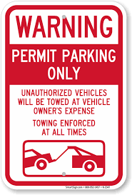 permit parking only tow away zone sign sku k 2347