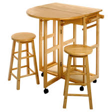 Space Saver Kitchens Drop Leaf Kitchen Table With 2 Round Stools Hayneedle
