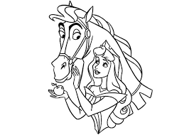 aurora prince riding horse coloring princess bebo