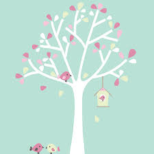 white tree wall stickers custom wall stickers livingroom wall white decoration option 2 white with pink green