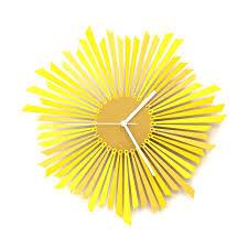 the sun stylish yellow golden wooden wall clock gadget flow