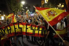 Barcelona Spain Flag Hundreds Against Catalonia Independence Rally In Barcelona The