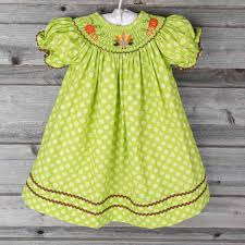 smocked thanksgiving bishop green polka dot by classic whimsy pre