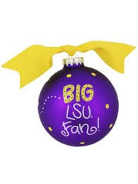 4 lsu chevron print glass keepsake ornament with gift box lsu