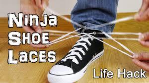 how to tie shoe laces like a ninja life hacks youtube