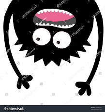 screaming monster head silhouette two eyes stock vector 693093178