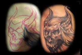 freehand tattoo of skull by hatefulss on deviantart