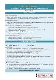 bookkeeper resume exles bookkeeper resume 2017