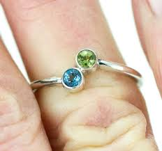 dual birthstone ring two sterling birthstone ring s ring dual