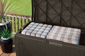 amazon com suncast dbw9935 resin rattan deck box 122 gallon