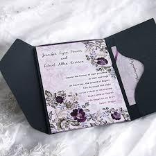 Wedding Invitations Purple Blooming Watermark Pocket Wedding Invitation Ukps036 Ukps036
