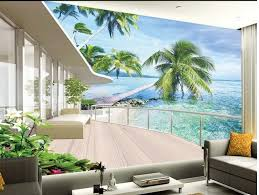 Wallpaper 3d For House | europe style beach balcony 3d room wallpaper landscape stereoscopic
