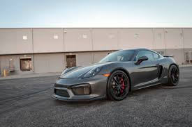 2016 porsche cayman gt4 in agate grey metallic black leather
