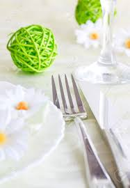 spring table setting with flowers and decoration stock photo