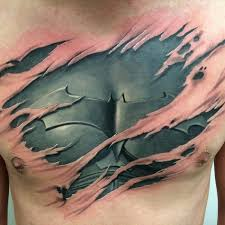 ripped skin cool realistic 3d ripped skin batman tattoo golfian com