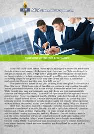 sample cover letter for mba finance experienced