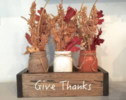 planter box fall centerpiece with mason jars give thanks